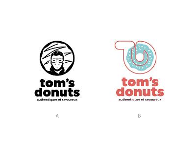Tom's Donuts WIP take away bakery food bold logo reunion island brand designer branding face logo face logo maker logo design logo doughnut donut shop donut
