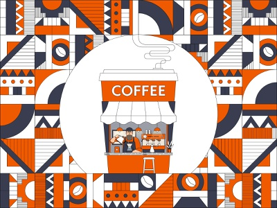 Coffee House line illustration line art coffee shop caffe cafe coffee addict coffee lover african patterns african africa coffee to go takeaway coffee barista coffee beans coffee
