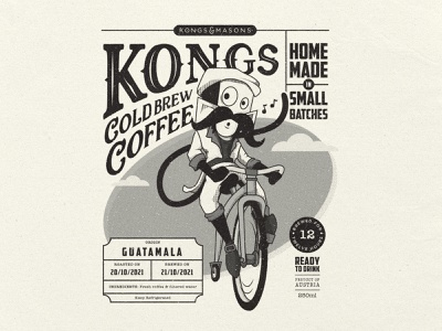 Kongs Cold Brew Label typography lettering vienna austria penny-farthing design packaging labelling coffee label coffee packaging cafe caffeine cold brew coffee coffee monkey old school offset print press vintage print vintage