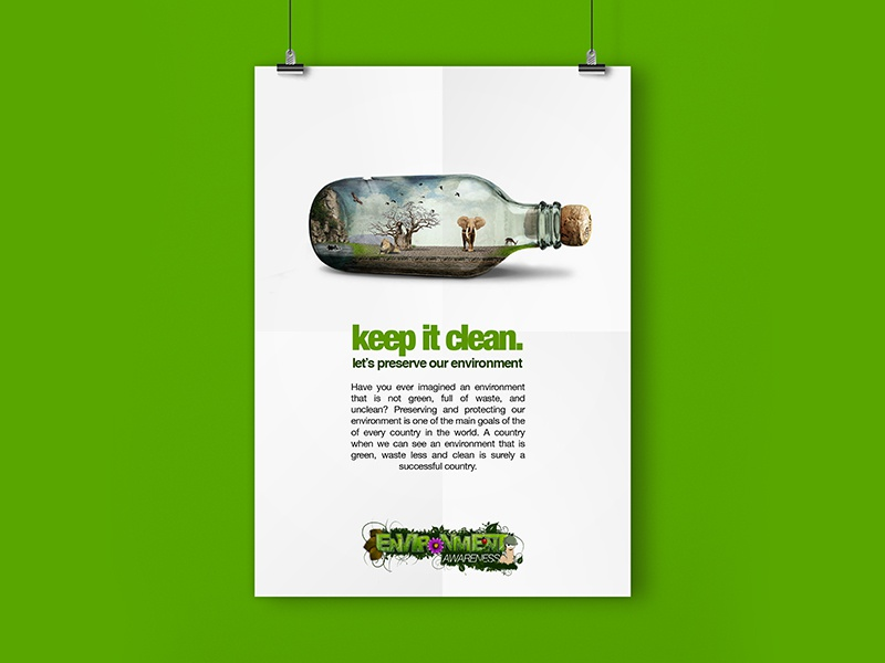 save the environment poster baobab lion elephant advertising concept awareness environment safari africa