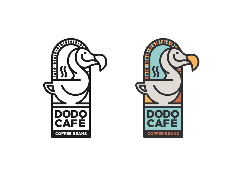 Dodo Cafe WIP graphic design illustration illustrator branding design branding simple minimal line logo color coffee cup dodo line illustration line icon logo design logo coffee beans café coffee