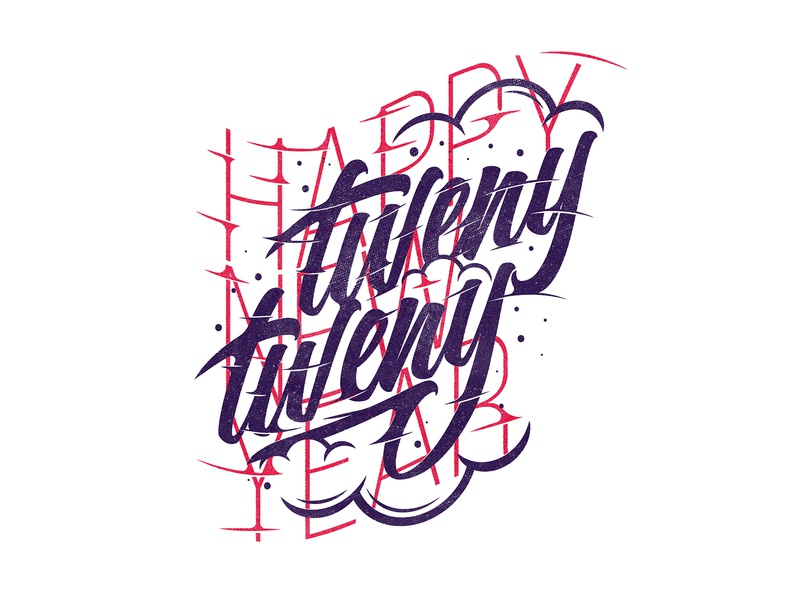 Tweny Tweny zimbo freelance design graphic design type sky clouds calligraphy lettering typography happy new year new year 2020