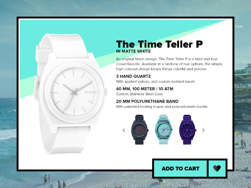Daily UI #012 - E-Commerce Shop buy beach nixon store watch shop e-commerce 012 daily ui