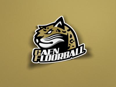 Caen Floorball - Mascot & Wordmark logo branding design vector illustration floorball team logo sports logo mascot sports branding