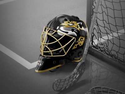 Caen Floorball - Goalie Helmet hockey floorball helmet branding design vector illustration team logo sports logo mascot sports branding