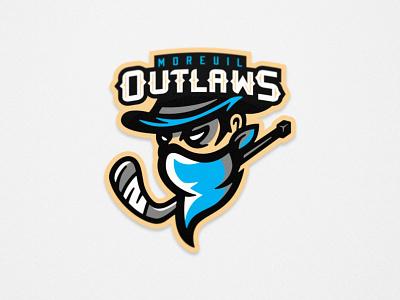 Outlaws - Roller Hockey - Primary Logo vector design illustration roller hockey inline hockey hockey mascot team logo sports logo sports branding