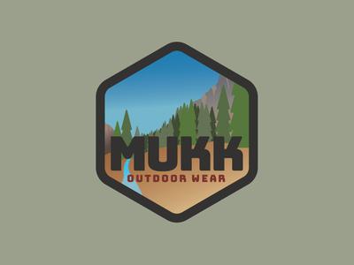 Mukk Outdoor Wear Badge design photoshop graphic  design digital art adobe illustrator badge branding vector design logo