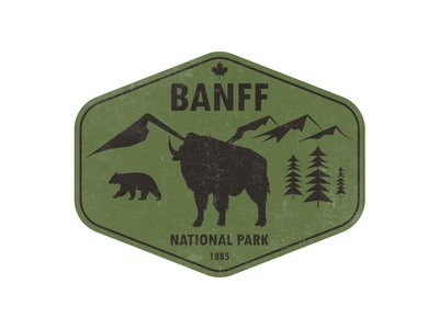 Banff National Park Badge tourism photoshop illustrator adobe vector branding graphic  design logo badgedesign badge