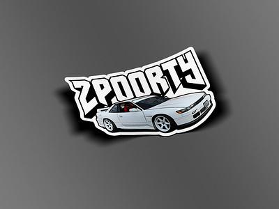 2poorty Silvia Sticker merch apparel illustraion 240sx car sticker