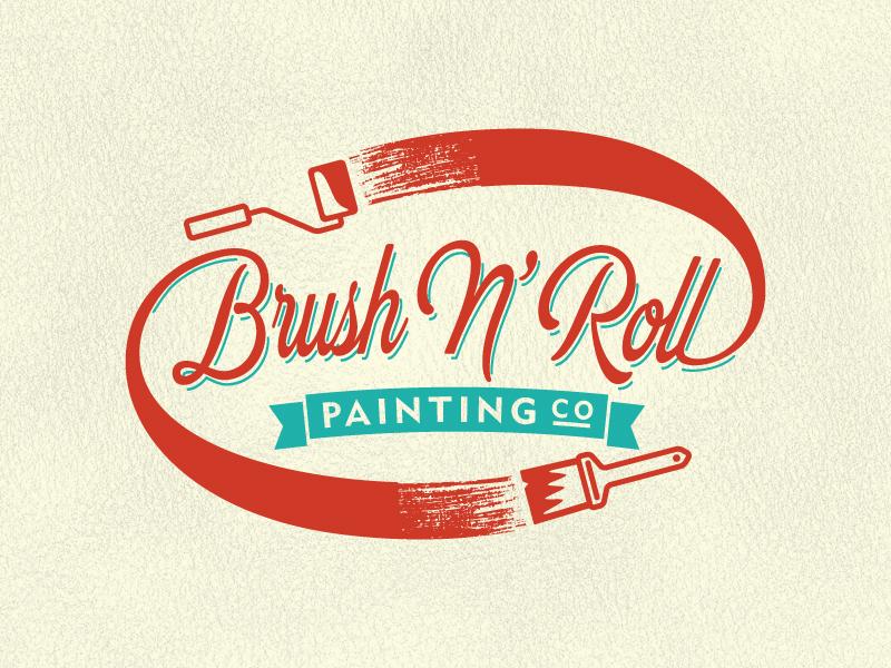 brush n roll logo v2 by kyle chicoine dribbble