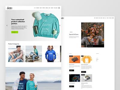 ACE USA Website minimal typography design web visual design uxdesign uidesign ux ui branding screen printing apparel webflow webdesign website