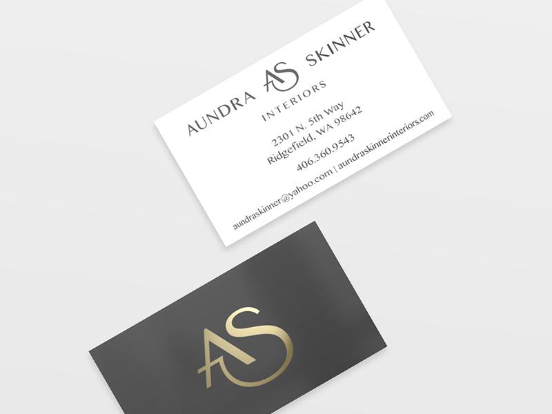 Aundra Skinner Interiors Business Cards identity branding interior design print design gold foil business card