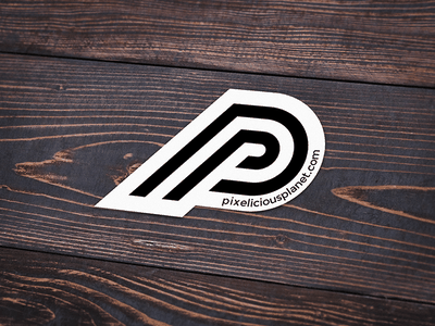 Pixelicious Planet Sticker identity branding monogram logo sticker