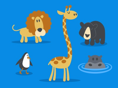Zoo Pals illustration bear hippo penguin giraffe lion animals zoo