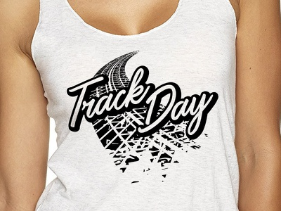 Track Day Racerback Tank Top script tire apparel tank top track day