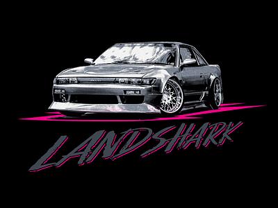 Landshark typography design apparel tshirt merch photoshop illustraion car nissan silvia s13