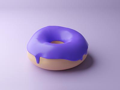 3D donut 🍩 purple illustration blender art food donut modelling 3d
