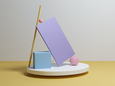 3D geometric scene purple spotlight lighting scene minimalistic yellow cycles render cylinder cube pastel sphere geometry blender 3d