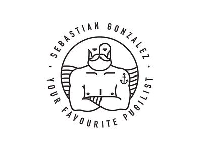 Pugilist logo minimalist hipster beard tattoo pugilist gonzalez sebastian sea ufc mma sailor logo