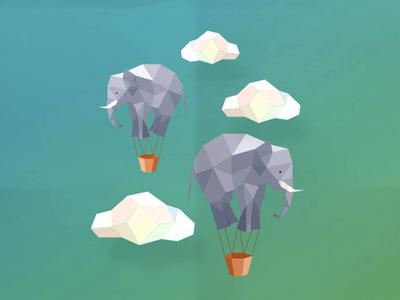 Flying elephants illustration surrealist sky air animals gradient 3d polygonal hot air balloon balloons clouds flying elephants