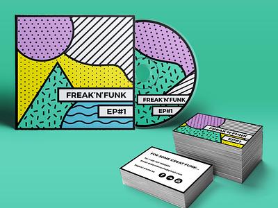Funk band branding vintage ep freak purple yellow green business cards cd colorful funky patterns rebranding banding ci music funk