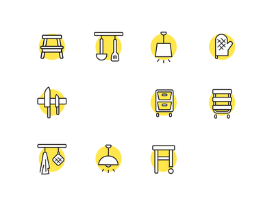 IKEA Kitchen Icon set sweden nordic minimalistic yellow stool drawers shelves cutlery knives lamp icons kitchen furniture ikea