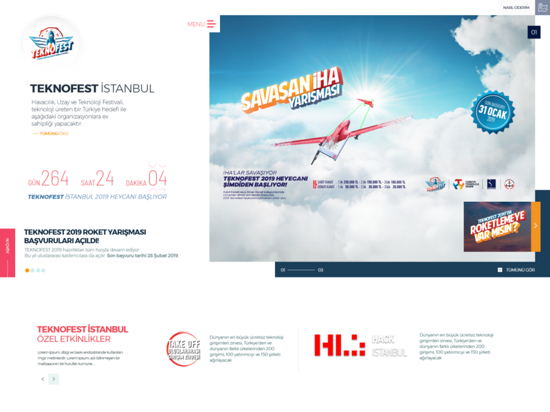 TEKNOFEST İSTANBUL 2019 typography web page corporate site design web design ux ui home hero image header