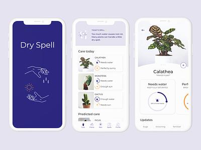 Dry Spell plant care plant illustration plant app branding product design app design illustration ux ui figma
