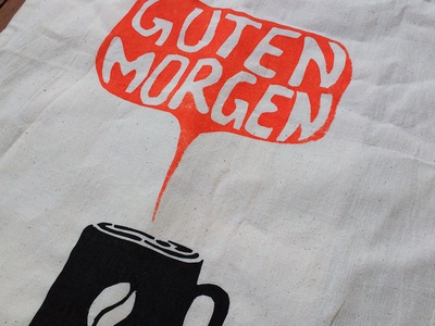 Guten Morgen Kaffee! [Screen printing] product print fabric screen-printing