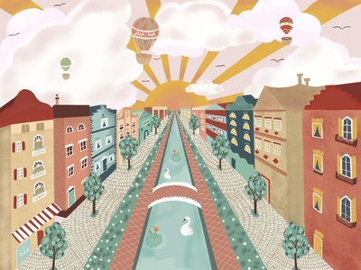 Hometown sunset city landscape perspective town sunset flat art design procreate illustrator flat design vector illustration