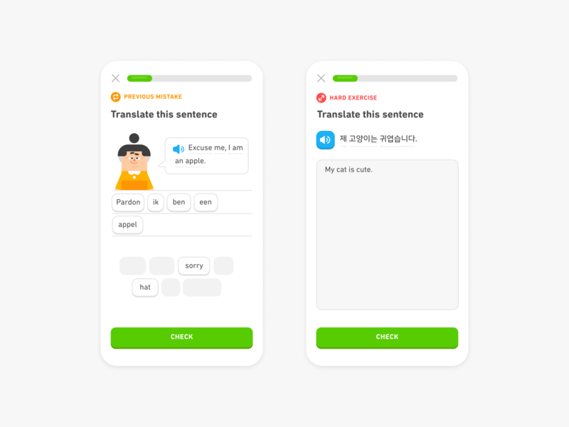 Challenge labels! challenge review progress indicator lessons mobile learning language duolingo