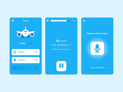 Duolingo Audio Lessons listening speaking player lesson audio education mobile ui design language learning duolingo