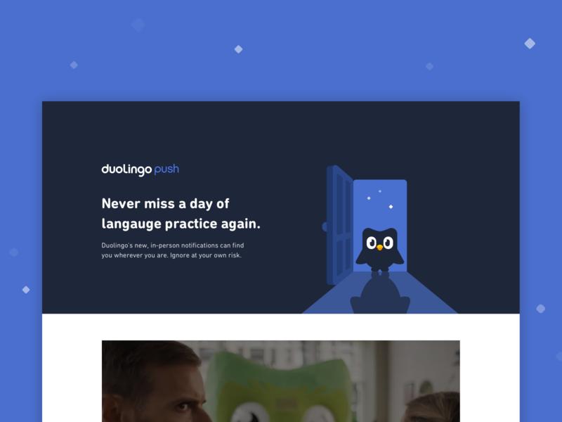 Duolingo Push notifications reminders learning duo meme april fools duolingo
