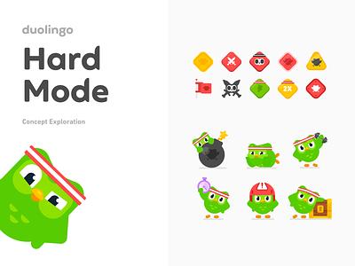 Hard Mode Concept Exploration concept challenge illustrations hard mode duolingo
