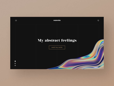 Main Page of Digital Artist's Website audio glitch sound space inspiration grid main page artwork artist sound design abstract digital holographic dark animation aftereffects ae interaction ux ui
