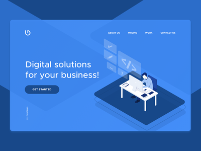 Digital solutions for your business user interface design isometric landing page header illustration