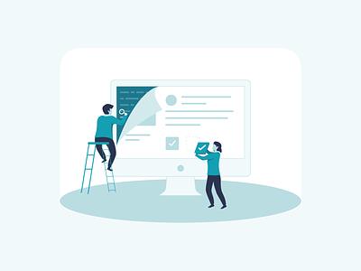 Catalyzing Information Economy vector design header isometric illustration
