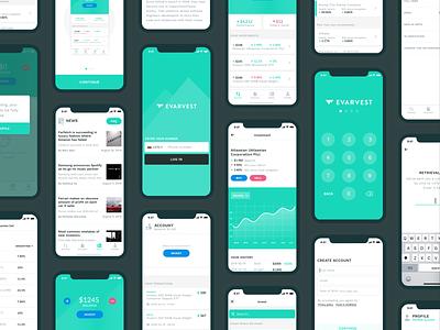 App screens screens finance color sketch mobile minimal ios interface flat design clean branding user interface app