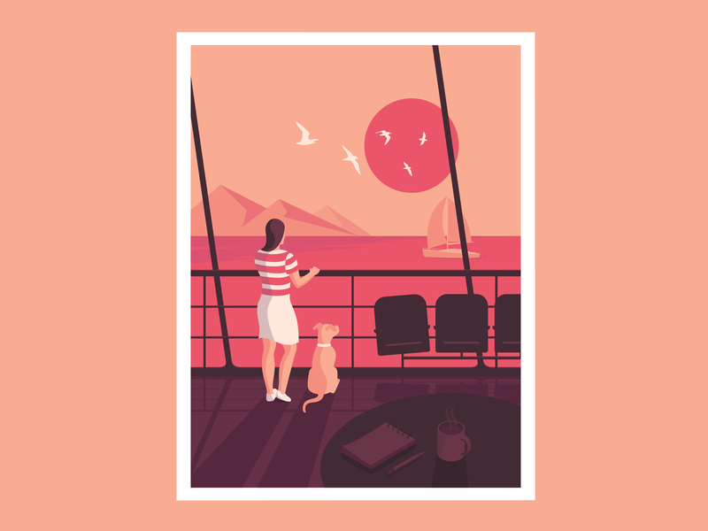 Cruise digital art sunset clean vintage cruise fun colorful vector sea minimalism minimal sailboat dog girl design character art character art isometric illustration