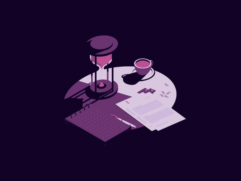 Time vector art artwork shadows minimalist purple creative table time vector illustrator design clean art minimal isometric illustration