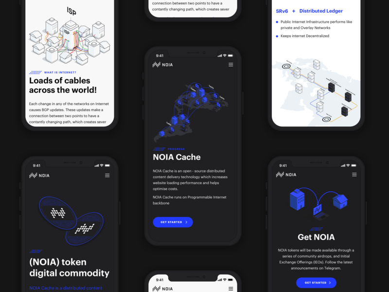 Mobile responsive website for NOIA vector website web user interface ui typography minimal isometric interface illustration branding design mobile
