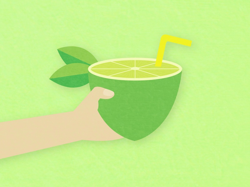 A refreshing drink straw drink linework love lime