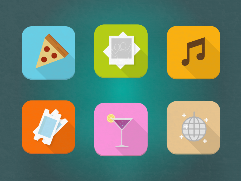 Friday Night Icon Pack disco ticket music pizza fun friday iconography icons icon