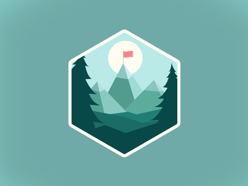 Mountain badge microsoft learn microsoft trees flag montains cute color work 3d 2d illustrator mountain