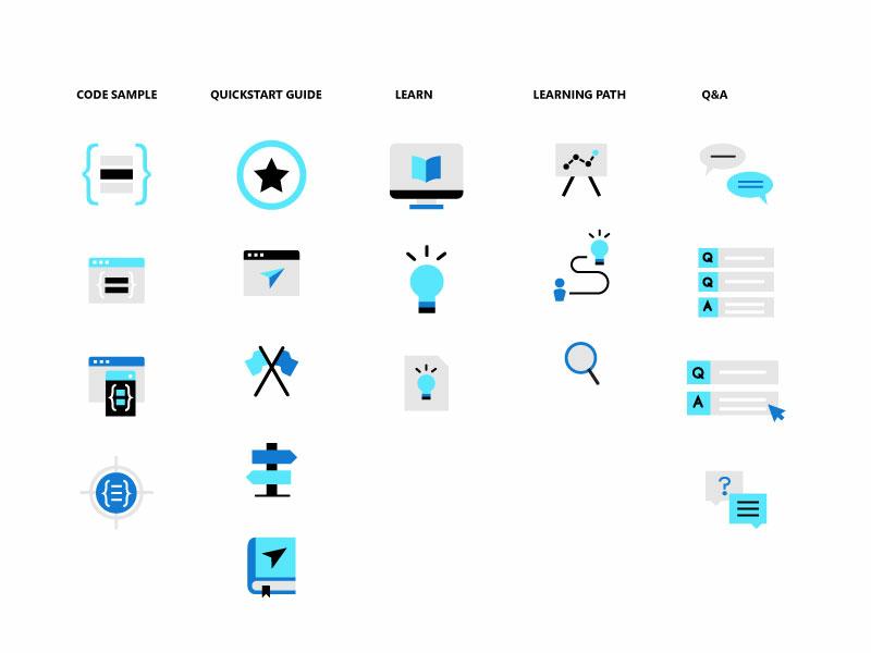 Blue tech Icon exploration logo color illustrator qa learning path learn quickstart code sample blue icon icon artwork microsoft icon