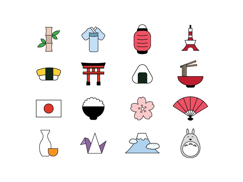 Japan Icons tokyo tower sake origami totoro ramen mt fuji onigiri bamboo sushi japan