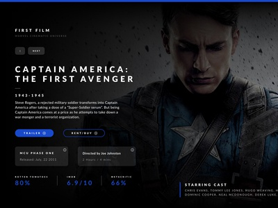 Captain America Landing Page v2 timeline mcu captain marvel avengers film cinema movie website landing page captain america