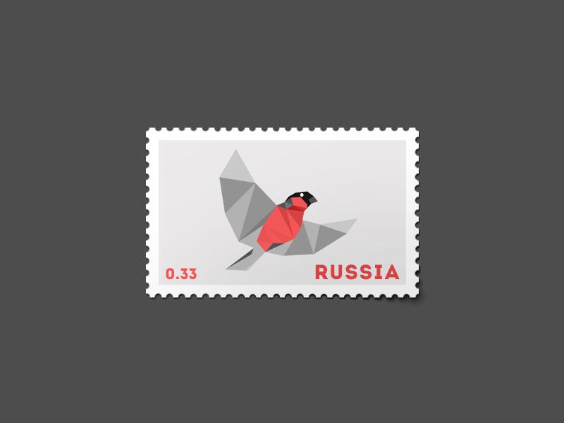 Bullfinch Stamp bird russia bullfinch stamp