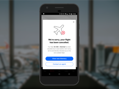 Daily UX Writing –Day 1: Flight Cancellation android ux ui duxw modal notification flight ux writing