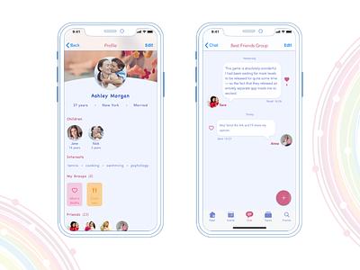 Social app design concept for Moms mobile app ui user experience mobile design friends interface interaction ui design profile page chat app hi-fi design concept app moms mothers mobile social app